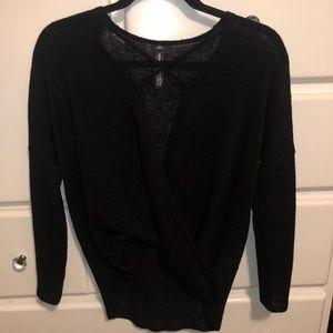 Design Lab Black Surplice Sweater
